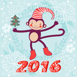 2016 card with cute funny monkey character. On floral background in soft colors. Vector illustration Royalty Free Stock Photography