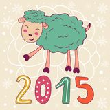 2015 card with cute funny sheep. Vector illustration Stock Images