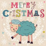 2015 card with cute funny sheep. Vector illustration Royalty Free Stock Image