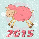 2015 card with cute funny sheep. Vector illustration Royalty Free Stock Images