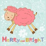 2015 card with cute funny sheep. Vector illustration Royalty Free Stock Photos
