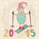 2015 card with cute funny skiing  sheep. Vector illustration Stock Photo