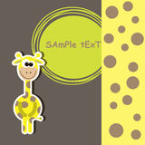 Card with cute giraffe. vector illustration Stock Photography