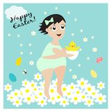 Card with cute girl with newborn chicken. EPS 10 Royalty Free Stock Photo