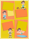 Card with a cute happy cartoon boy playing. Sports and toys stock illustration