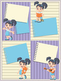 Card with a cute happy cartoon girl playing. Sports and toys stock illustration