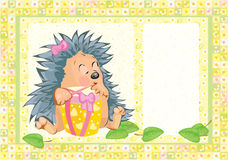 Card, cute hedgehog with gift. Stock Images
