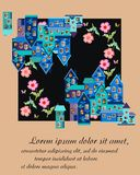 Card with cute houses and beautiful flowers. Royalty Free Stock Images