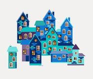 Card with cute houses. Small town in winter. Stock Image