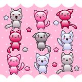 Card with cute kawaii doodle cats Royalty Free Stock Photos