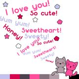 Card with cute kawaii doodle cats Royalty Free Stock Images
