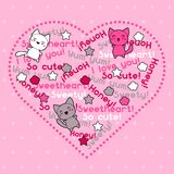 Card with cute kawaii doodle cats Royalty Free Stock Photo