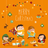 Card with cute kids, sweets and christmas presents Royalty Free Stock Photos