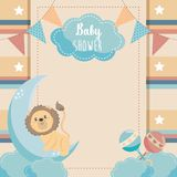 Card of cute lion with rattles and moon royalty free illustration