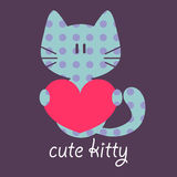 Card with cute kitty holding a heart Royalty Free Stock Images