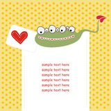 Card with cute monster in love Stock Image