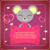 Card with cute mouse Stock Images