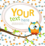 Card with a cute owl sitting on the branch Royalty Free Stock Photography