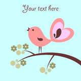 Card with cute pink bird Royalty Free Stock Images