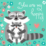 Card with cute raccoons and a declaration of love Stock Photos