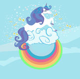 Card with a cute unicorn rainbow in the clouds. Vector Illustration Stock Images