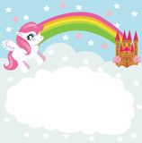 Card with a cute unicorn rainbow and fairy-tale princess castle. Illustration stock illustration