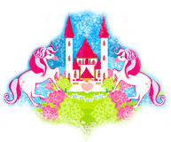 Card with a cute unicorns and fairy-tale princess castle. Raster illustration Stock Photos
