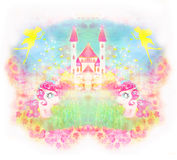 Card with a cute unicorns and magical castle stock illustration