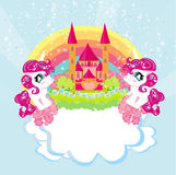 Card with a cute unicorns rainbow and princess castle Stock Photos