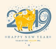 Card with a cute yellow pig on the background of 2019 and snowflakes. vector illustration