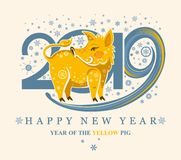 Card with a cute yellow pig on the background of 2019 and snowflakes. stock illustration