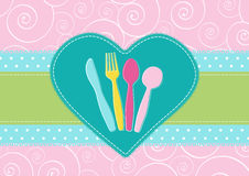 Card with cutlery in a heart Stock Photos