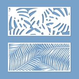 Card for cutting set. Template with palm leaves pattern for laser cut. Vector. Card for cutting set. Template with palm leaves pattern for laser cut. Vector stock illustration