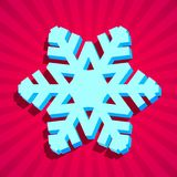 3D christmas snowflake. Card with 3D christmas snowflake with shadow Stock Photos