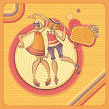 Card with dancing girls in retro style. Vector illustration Royalty Free Stock Photography
