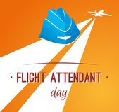 Card day flight attendant. Greeting card. July 12, the world day of flight attendant. Vector illustration for banner, girl stewardess stock illustration
