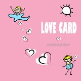 Card by Day of Valentine, love. Card by Day of Valentine, vector cartoon love vector illustration
