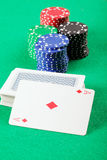 Card deck with ace and chips Royalty Free Stock Image