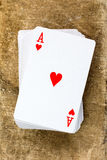 Card deck with ace of hearts Stock Photos