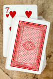 Card deck with seven of hearts Stock Images