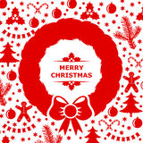 Card decorated with Christmas baubles and wreath Stock Photos