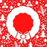 Card decorated Christmas baubles and wreath Royalty Free Stock Photography