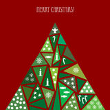 Card with decorated Christmas tree Royalty Free Stock Photography