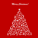 Card with decorated Christmas tree  Stock Photography