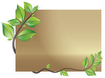 Card decorated with leaves. Beautiful card decorated with branch of fresh leaves royalty free illustration