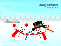 Card decorated with snowmen. Christmas Card Design Series Stock Image