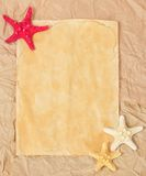 The card decorated with starfishes Royalty Free Stock Photography