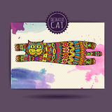 Card with decorative cat Royalty Free Stock Photo