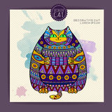 Card with decorative cat Royalty Free Stock Images