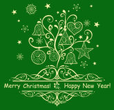 Card with decorative christmas tree Royalty Free Stock Photo
